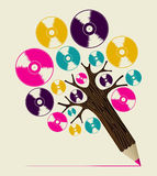 Retro music concept art tree Stock Images