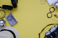 Retro music concept. Top view composition with retro items on yellow background. Flatlay. Retro music concept. Top view composition with retro items. Flatlay stock photo