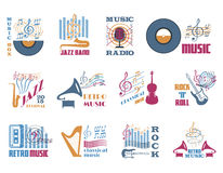 Retro music emblems Royalty Free Stock Photos