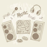 Retro music equipment. Royalty Free Stock Photo