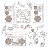 Retro music equipment. A collection of stylish vector images of old tape recorders and speakers. Hand drawn illustration Royalty Free Stock Image