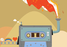Retro music factory. Cassette Stock Image