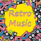 Retro frame old hipster retro technique music audio player headphones audio tape recorder 80`s 90`s cassette copy space background. A retro music frame made from Royalty Free Stock Photos
