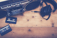 Retro music header image. Top view 80's retro cassette deck music hero header image Royalty Free Stock Image