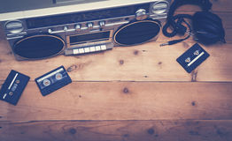 Retro music header image. Top view 80's retro cassette deck music hero header image Stock Image
