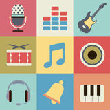 Retro music icons. This image is a vector illustration Stock Photos