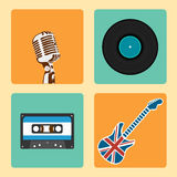 Retro Music Icons Set vector. Set of Old Style Music Icons Royalty Free Stock Photography