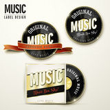 Retro music label design with vinyl elements Stock Images