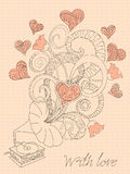 Retro music with love. Festive romantic card with doodle drawing gramophone, zen tangle  shapes, hearts for Valentine Day, invitation romantic holidays, retro Royalty Free Stock Images
