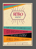 Retro Music Party celebration flyer or template. Retro Music Party celebration vintage flyer, banner or template design with date, time and place details vector illustration