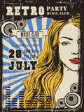 Retro music party poster design Royalty Free Stock Images