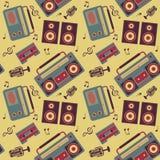 Retro music pattern. Seamless vector pattern of retro music gadgets Royalty Free Stock Photo