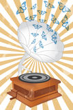 Retro music player with butterflies. Retro music player poster with butterflies and record player vector illustration