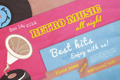 Retro music poster. Textured poster retro music with gramophone. Text outlined. Free fonts - Alfa Slab One, Yesteryear, Pacifico Regular, Special Elite Royalty Free Stock Images