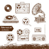 Retro music set. Isolated on white Royalty Free Stock Photography