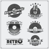 Retro music studio emblems, labels, badges and design elements. Royalty Free Stock Photo