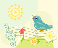 Retro music. vector. Retro illustration with flowers as notes. vector Stock Photography