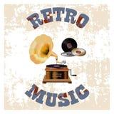 Retro_music_vintage_label vector illustration