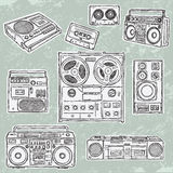 Retro musical equipment. A collection of stylish  images of old tape recorders Royalty Free Stock Image