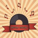 Retro musical flyer/ cover on a sunburst background. stock illustration