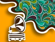 Retro musical gramophone. Royalty Free Stock Photo