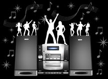 Retro musical graphic. Retro graphic of dancing figurines on stereo system Stock Photos