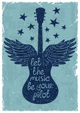 Retro musical illustration with silhouette of guitar. Stock Photography