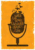 Retro musical illustration with silhouette of microphone. Royalty Free Stock Images