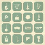 Retro Musical Instruments Icons. Vector Royalty Free Stock Images