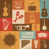 Retro Musical Instruments Icons. Vector Royalty Free Stock Photography