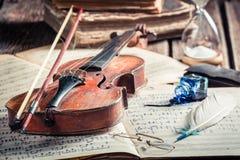 Retro musical sheets and violin Royalty Free Stock Images