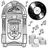 Retro- Musikautomat und Vinyllangspielplatte-Skizze Stockfoto