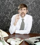 Retro mustache businessman office desk Stock Photos
