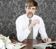Retro mustache businessman office desk Stock Image