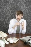 Retro mustache businessman office desk Stock Photo