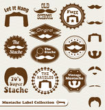 Retro Mustache Labels and Stickers. Collection of retro mustache labels and badges Stock Photo