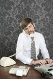 Retro mustache multitask businessman office desk Stock Photo