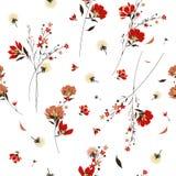 Retro- Muster der wilden Blume in vielen Art von Blumen botanisch Stockfotos