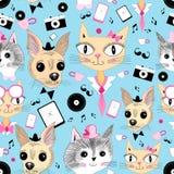 Retro- Muster mit Bildern von Tieren Stockbild