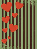 Retro- Muster Valentine Day, hochfliegende Herzen Lizenzfreies Stockbild