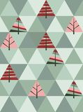 Retro- Muster von geometrischen Weihnachtsbäumen Stockfotografie