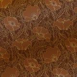 Retro- Muster von Goldmohnblumen Stockfotos