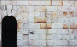 Retro muur en deurachtergrond Stock Foto