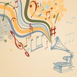 Retro muziekachtergrond Royalty-vrije Stock Afbeelding