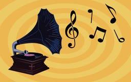 Retro Muziekbehang - Oude Grammofoon met muzieknota's, uitstekende fonograaf met blauwe schaduw royalty-vrije stock foto's