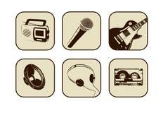 Retro muziekpictogrammen Stock Afbeeldingen