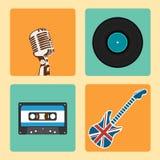 Retro Muziekpictogrammen Geplaatst vector Royalty-vrije Stock Fotografie