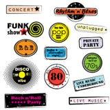 Retro muziekzegels Royalty-vrije Stock Afbeeldingen