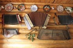 Retro muzikale instrumenten Stock Foto
