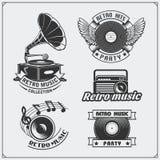 Retro muzyczni pracowniani emblematy, etykietki, odznaki i projektów elementy, Obrazy Stock